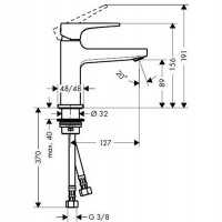 Смеситель для раковины Hansgrohe Metropol с донным клапаном Push-Open Matt Black 32500670