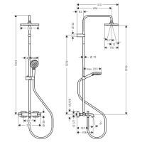 Душевая система Hansgrohe Vernis Shape Showerpipe 230 1jet с термостатом для ванны 26284000 хром