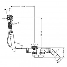 Сифон для ванны Hansgrohe Exafill S Basic с наполнением 58115180
