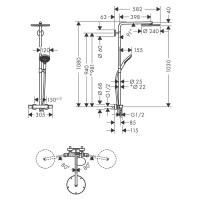 Душевая система Hansgrohe Raindance Select S Showerpipe 240 1jet с термостатом, черный матовый 27633670
