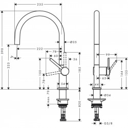 Смеситель Hansgrohe Talis M54 для кухонной мойки Stainless Steel 72804800