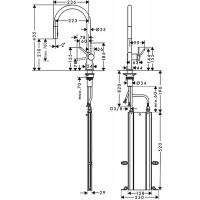Смеситель Hansgrohe Talis M54 для кухонной мойки с выдвижным душем Sbox72801000