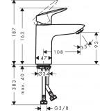 Смеситель для раковины Hansgrohe Logis 100 Coolstart  без донного клапана 71103000