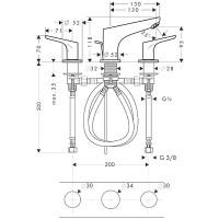 Смеситель для раковины на 3 отверстия Hansgrohe Focus 31937000