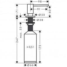 Дозатор кухонный Hansgrohe A41 для моющего средства 500 ml Matt Black 40438670