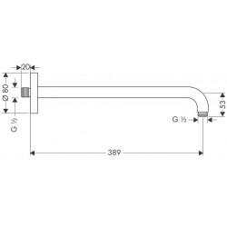 Кронштейн для верхнего душа Hansgrohe 389 мм Brushed Black Chrome 27413340