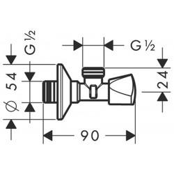 Вентиль угловой Hansgrohe E, хром13903000
