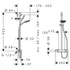 Душевая система Hansgrohe Raindance Select E 150 с термостатом SemiPipe 27293000