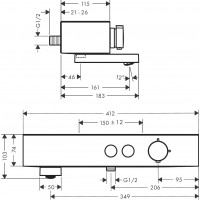 Термостат для ванны Hansgrohe ShowerTablet Select, черный матовый 24340670