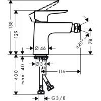 Смеситель для биде Hansgrohe Talis E с донным клапаном push-open 71721000