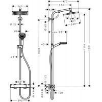 Душевая система Hansgrohe Crometta Е 240 1jet Showerpipe с термостатом EcoSmart 27281000
