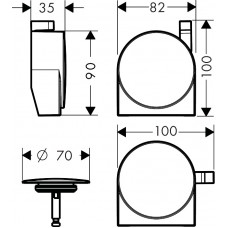 Внешняя часть сифона для ванны Hansgrohe Exafill S Chrome 58117000