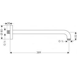 Кронштейн для верхнего душа Hansgrohe 389 мм Matt Black 27413670