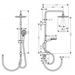 Душевая система Hansgrohe Vernis Blend Showerpipe 200 1jet Reno 26272670 черный матовый
