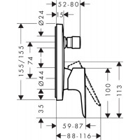 Смеситель скрытого монтажа для ванны и душа Hansgrohe Talis E Brushed Black 71745340