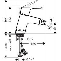 Смеситель для биде Hansgrohe Focus с донным клапаном push-open 31922000