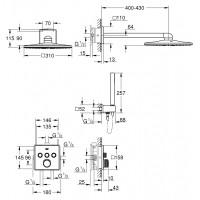 Душевой набор Grohe Rainshower SmartActive 310 Cube 34804000
