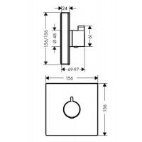 Термостат для душа Hansgrohe ShowerSelect Glass Highfow Black/Chrome 15734600