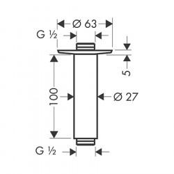 Кронштейн для верхнего душа Hansgrohe 100 мм 27479000