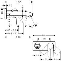 Смеситель для раковины настенный Hansgrohe Metris 31251000