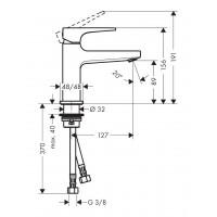 Смеситель для раковины Hansgrohe Metropol с донным клапаном Push-Open Brushed Black Chrome 32500340
