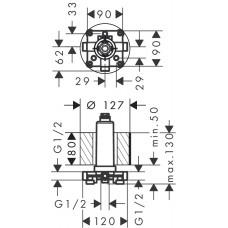 Скрытая часть верхнего душа Hansgrohe Rainmaker Select 24010180