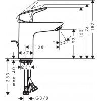 Смеситель для раковины Hansgrohe Logis 100 2Flow 71105000