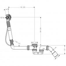 Сифон Hansgrohe Exafill S Basic для нестандартных ванн с наполнением 58116180