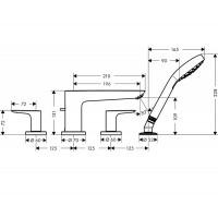 Смеситель для ванны Hansgrohe Talis E на 4 отверстия Brushed Bronze71748140