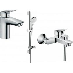 Набор смесителей Hansgrohe EcoSmart для ванны Logis 100 (71104+7140+26553400) 20200008