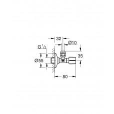 Угловой вентиль с металлической розеткой Grohe 22037000
