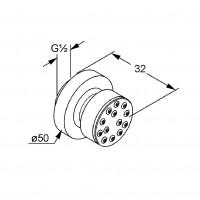 Поворотный боковой душ Kludi A-QA 6108305-00