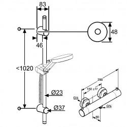 Термостат для душа с гарнитуром Kludi A-QA 6209705-00