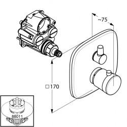 Верхняя часть смесителя для ванны Kludi AMBIENTA с термостатом 538300575