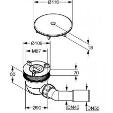 Сифон KLUDI TASSO 90 Сифон для душевого поддона (комплект), 2109805-00