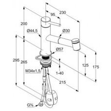 Смеситель для кухни с выдвижной лейкой KLUDI Steel, 44851F860