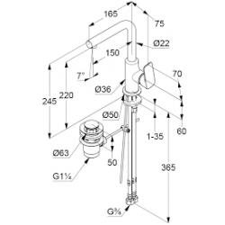 Смеситель для раковины Kludi PURE&STYLE, 400250575