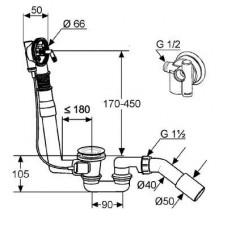 Сифон KLUDI ROTEXA MULTI Слив-перелив с наполнением G 1 1/2 + наружная часть (комплект) 2120005N-00