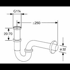 Сифон трубный для раковины KLUDI G1 1/4, 1025005-00