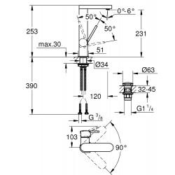 Смеситель для умывальника с нажимным донным клапаном Grohe PLUS L-Size, 23873003