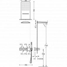 Набор скрытого монтажа для душа Tres Block System Colors, 20735302NM
