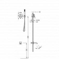 Набор скрытого монтажа для ванны Tres Block System Colors, 21118003NM