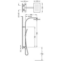 Душевая система  с термостатом Tres Slim Colors, 20219501BM