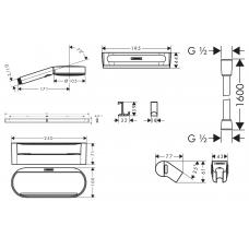 Душевой набор Hansgrohe WallStoris с штангой для душа 24291700 белый матовый